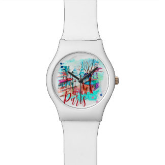 Eiffel Tower Meet Me In Paris France Watercolor Watches