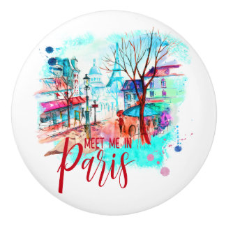 Eiffel Tower Meet Me in Paris Watercolor Splatter Ceramic Knob