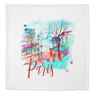 Eiffel Tower Meet Me in Paris Watercolor Splatter Duvet Cover