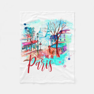 Eiffel Tower Meet Me in Paris Watercolor Splatter Fleece Blanket