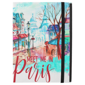 "Eiffel Tower Meet Me in Paris Watercolor Splatter iPad Pro 12.9"" Case"