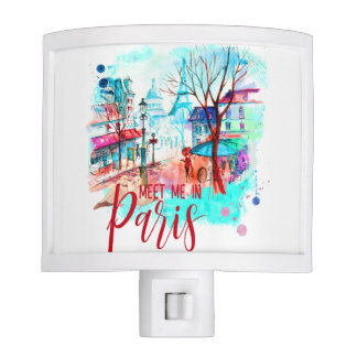 Eiffel Tower Meet Me in Paris Watercolor Splatter Nite Lite