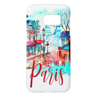Eiffel Tower Meet Me in Paris Watercolor Splatter Samsung Galaxy S7 Case