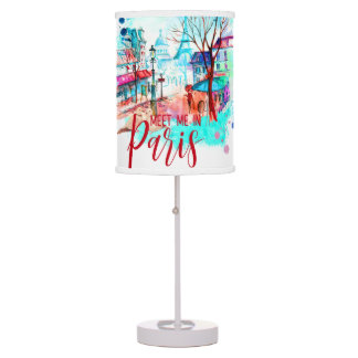 Eiffel Tower Meet Me in Paris Watercolor Splatter Table Lamp