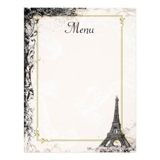 Eiffel Tower Menu Vintage French Style Customized Letterhead