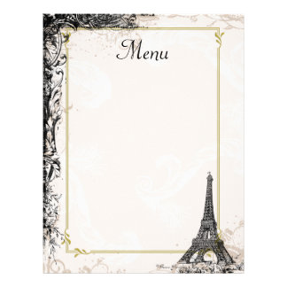 Eiffel Tower Menu Vintage French Style Letterhead