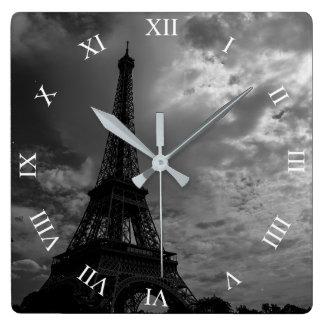 Eiffel Tower Night Cloudy Sky Square Wall Clock
