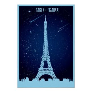Eiffel Tower Night Scene Poster