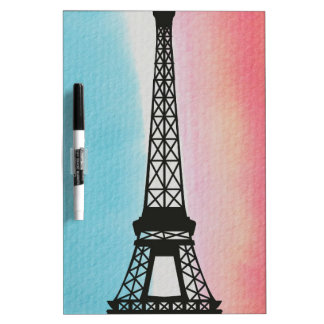 Eiffel Tower on Watercolour Background Dry Erase Whiteboards