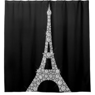 Eiffel Tower Pari Black White Swarovski Crystals