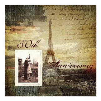 "Eiffel Tower Paris 50th Wedding anniversary 5.25"" Square Invitation Card"