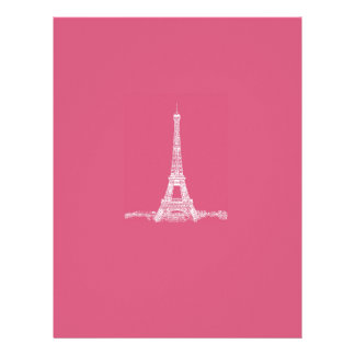 Eiffel Tower Paris Abstract Pink Letterhead