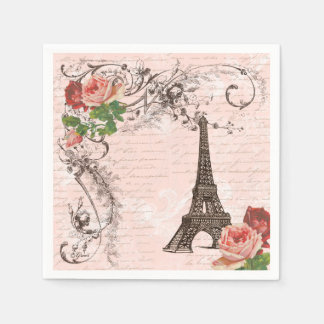 Eiffel Tower Paris and Roses Party Napkins
