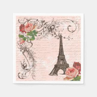 Eiffel Tower Paris and Roses Party Napkins Paper Napkins