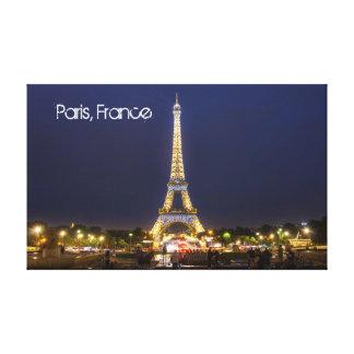 Eiffel Tower, Paris at night Canvas