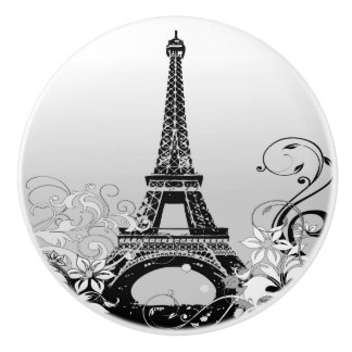 Eiffel Tower Paris (B/W) Ceramic Knob
