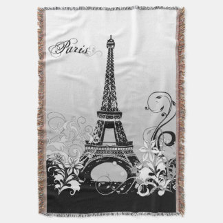Eiffel Tower Paris (B/W) Woven Throw Blanket
