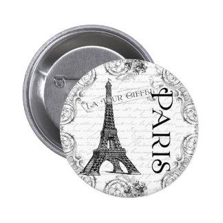 Eiffel tower Paris Black and White 2 Inch Round Button