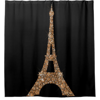 Eiffel Tower Paris Black Rose Gold Copper Crystals