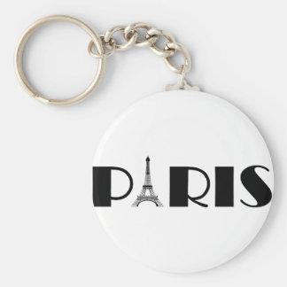 Eiffel Tower Paris Black & White Basic Round Button Keychain