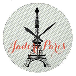 Eiffel tower Paris blue white chevron Large Clock