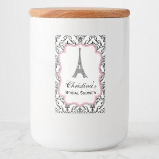 Eiffel Tower Paris Bridal Shower Glass Jar Label