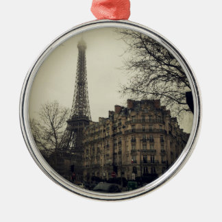 Eiffel Tower Paris City Building Architecture Silver-Colored Round Ornament