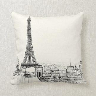 Eiffel Tower Paris Cityscape Sketches Throw Pillow