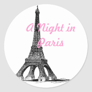 Eiffel Tower Paris Classic Round Sticker