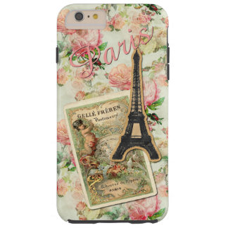 Eiffel Tower Paris Cute Pretty Pink Floral Pattern Tough iPhone 6 Plus Case