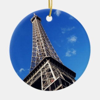 Eiffel Tower Paris Europe Travel Round Ceramic Ornament