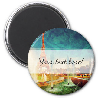 Eiffel Tower, Paris Fountain and Circus 2 Inch Round Magnet