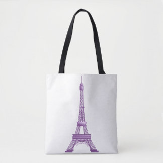 Eiffel Tower Paris France Bag Purple