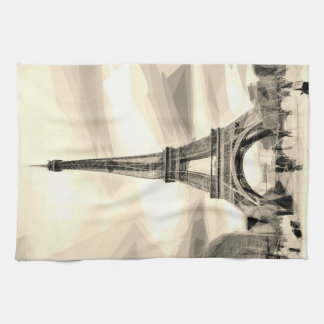 Eiffel Tower Paris France Black White Tea_towel Kitchen Towel