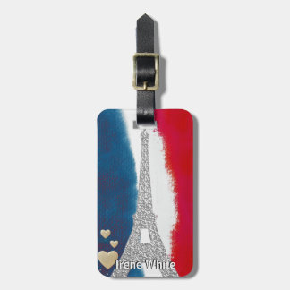 Eiffel Tower Paris France Custom Red White Blue Luggage Tag
