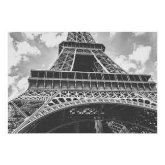 Eiffel Tower, Paris, France in black and white Poster