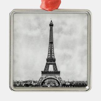 Eiffel Tower Paris France Silver-Colored Square Ornament