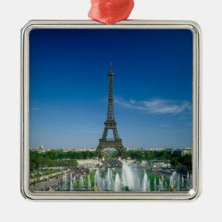 Eiffel Tower, Paris, France Silver-Colored Square Ornament