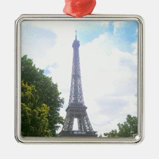 Eiffel Tower, Paris France Silver-Colored Square Ornament
