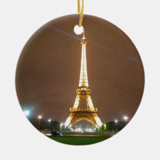 Eiffel Tower Paris France - Springtime Evening Round Ceramic Ornament