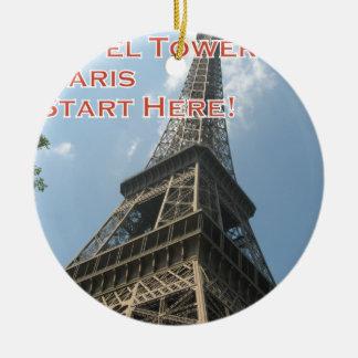 Eiffel Tower Paris France Summer 2016 French Round Ceramic Ornament