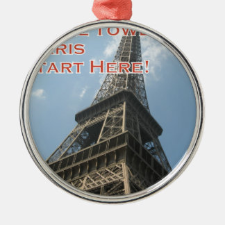 Eiffel Tower Paris France Summer 2016 French Silver-Colored Round Ornament