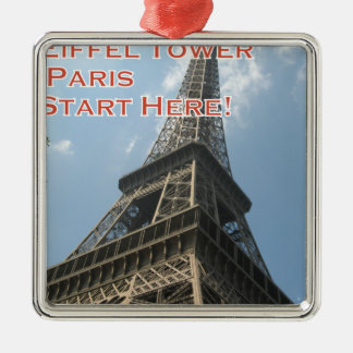 Eiffel Tower Paris France Summer 2016 French Silver-Colored Square Ornament