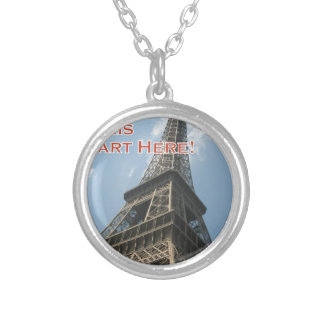 Eiffel Tower Paris France Summer 2016 French Silver Plated Necklace