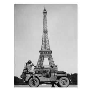 Eiffel Tower Paris France WW2 Postcard