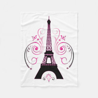 Eiffel Tower Paris Gradient Swirl Design Fleece Blanket