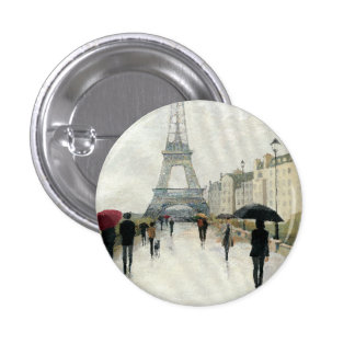 Eiffel Tower | Paris In The Rain 1 Inch Round Button