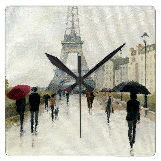 Eiffel Tower   Paris In The Rain Square Wall Clock