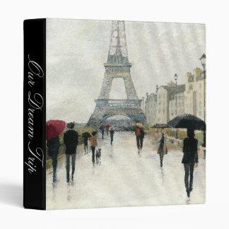 Eiffel Tower   Paris In The Rain Vinyl Binder