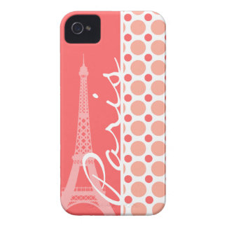 Eiffel Tower, Paris, Pink & Coral Polka Dots iPhone 4 Cover